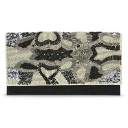Элегантный клатч серо-черного цвета, украшенный бисером и паетками BG 302