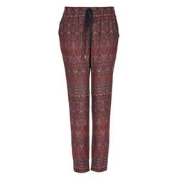Стильные  штаны на завязках с абстрактным принтом в темных тонах TR 053