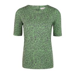Зеленая футболка с принтом цветов, растительности и птичек TS 958