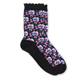 Черные носочки с цветочным принтом SH 455