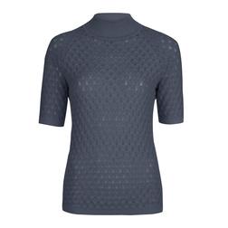 Пуловер ажурной вязки синего цвета JP 771