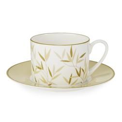 Чашка с блюдцем с рисунком зеленых листочков WILLOW CUP AND SAUCER 12*9, Ø16 (Green)