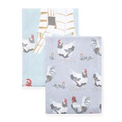 Набор кухонных полотенец с рисунком кур CHICKENS SET OF 2 TEA TOWELS 50*70 (Multi)
