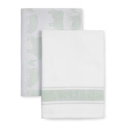 Набор кухонных полотенец с рисунком светло-зеленого цвета ANIMALS SET OF 2 TEA TOWELS 50*70 (Multi)