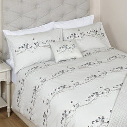 Двойной набор постели с рисунком синичек WINTER BIRDS DB 200*200, 50*75 set of-2 (Steel)