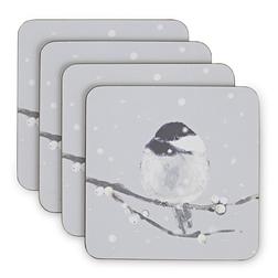 Набор квадратных подставок под чашку с рисунком синичек WINTER BIRDS SET OF 4 COASTERS 11*11 (Silver