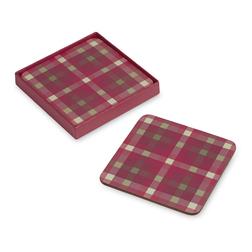 Набор квадратных подставок под чашку в клетку красного цвета FALKIRK CHECK SET OF 4 COASTERS 11*11 (