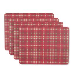 Набор подставок под посуду в клетку красного цвета FALKIRK CHECK SET OF 4 PLACEMATS 31,5*23,5 (Multi