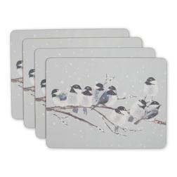 Набор подставок под посуду с рисунком синичек WINTER BIRDS SET OF 4 PLACEMATS 31,5*23,5 (Silver)