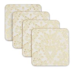 Набор квадратных подставок под чашку с золотым рисунком DAMASK SET OF 4 COASTERS 11*11 (Gold)
