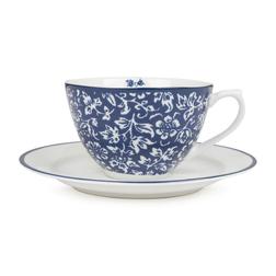 Чашка синего цвета с блюдцем из фарфора SWEET ALLYSUM CUP & SAUCER 10*7, Ø15 (Blue)
