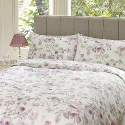 Двойной комплект постели в цветы роз GRACE DB 200*200, 50*75 set of-2 (Grape)