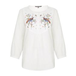 Белая блуза с принтом птиц и цветов BL 300