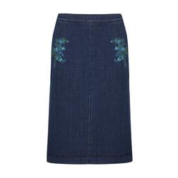 Джинсовая юбка с оригинальной вышивкой MS 702