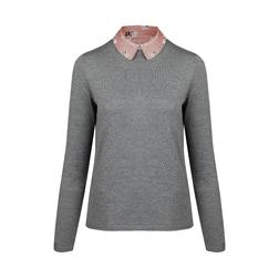 Стильный пуловер серого цвета с кашемиром JP 839 Grey marl
