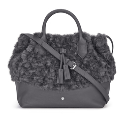 Шикарная сумочка серого цвета с искусственным мехом BG 300