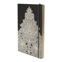 Блокнот черного цвета с цветочным рисунком DAMASK SOFT COVER NOTEBOOK 15*21*1 (Charcoal)