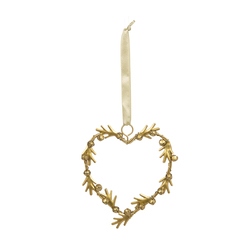 Елочная игрушка в форме сердца с колокольчиками HEART BELLS DECORATION 12*11*1 (Gold)