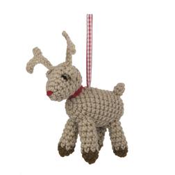 Мягкая елочная игрушка в форме оленя CROCHET REINDEER DECORATION 8*8 (Multi)