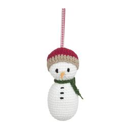 Мягкая елочная игрушка в форме снеговика KNITTED SNOWMAN DECORATION 5*11 (Multi)