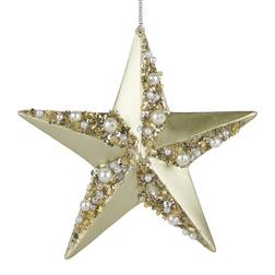 Елочная игрушка в форме звезды золотистого цвета GOLD STAR WITH GEMS ORNAMENT 10,5*1,2*10 (Gold)