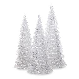 Набор новогоднего декора в виде трех елочек TREES LIT SET OF 3 22*9 (Silver)