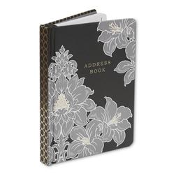 Адресная книга с цветочным рисунком серебристого цвета DAMASK ADDRESS BOOK 12*15,5*1,5 (Charcoal)