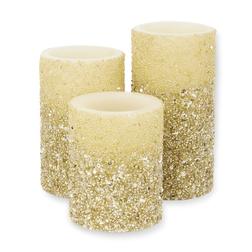 Набор свечей украшенных бисером SPARKLE SET OF 3 15*8; 12*8; 10*8 (Champagne)