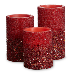 Набор свечей украшенных бисером красного цвета SPARKLE SET OF 3 15*8; 12*8; 10*8 (Silver)