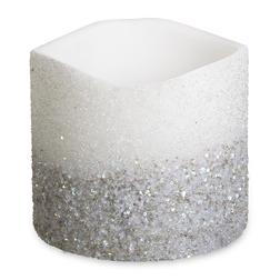Крупная свеча украшена бисером серебристого цвета SPARKLE SHORT WIDE 16*18 (Silver)