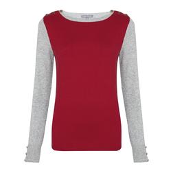 Стильный пуловер серо-красного цвета JP 847