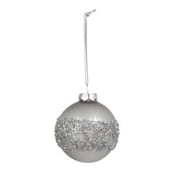 Елочная игрушка из серебристого стекла с пайетками BEADED BAUBLE Ø8 (Silver)