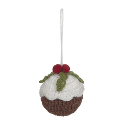 Мягкая елочная игрушка в форме кекса CROCHET CHRISTMAS PUDDING DECORATION Ø7,5 (Multi)