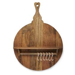 Деревянная вешалка в форме большой кухонной доски BOARD SHELVING UNIT WITH HOOKS 82*55 (Wood)