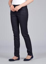 Стильные  джинсы слимы насыщенного темно-серого цвета с высокой талией TR 863