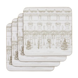 Набор подставок под чашку с архитектурным рисунком CHRISTMAS HOUSE SET OF 4 COASTERS 10*10 (Silver)