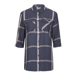 Рубашка-туника синего цвета в широкую клетку MD 487