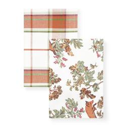 Набор кухонных полотенец с рисунком ярко-оранжевого цвета FOX SET OF 2 TEA TOWELS 50*70 (Multi)