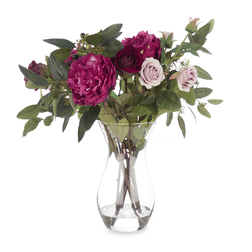 Большой букет искусственных цветов в прозрачной вазе PEONY & ROSE ARRENGEMENT LARGE 50*45 (Purple)