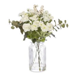 Красивый букет искусственных цветов белого цвета RANUNCULUS, EUCALYPTUS & BERRIES ARRENGEMENT 38*32