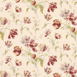 Бумажные обои в крупные цветы тюльпана бордового цвета GOSFORD MEADOW (Cranberry)