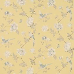 Бумажные обои с рисунком птиц и растительности на желтом фоне ELVEDEN (Camomile)