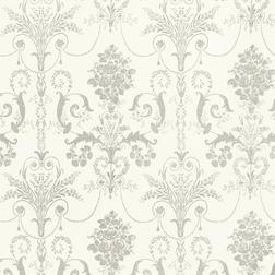 Бумажные обои с роскошным рисунком серого цвета JOSETTE (Dove Grey/White)