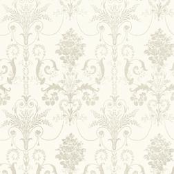 Бумажные обои с роскошным рисунком белого цвета на фоне обладающим перламутровым блеском JOSETTE