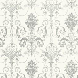 Бумажные обои с роскошным рисунком серебристого цвета с перламутровым блеском JOSETTE (Silver Glitte