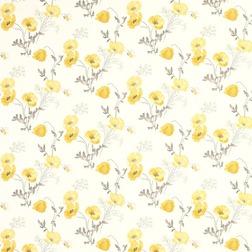 Бумажные обои с рисунком желтых цветов мака POPPY MEADOW (Primrose Yellow)