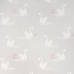 Бумажные обои с силуэтом лебедей серебристо-бежевого цвета SWANS (Silver)