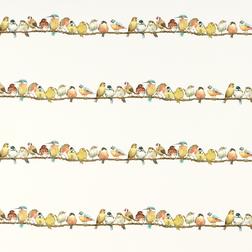 Бумажные обои с большим количеством ярких птичек GARDEN BIRDS (Multi)