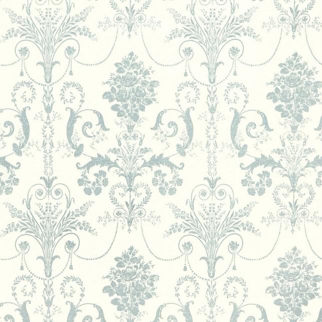 Бумажные обои с роскошным рисунком ярко-голубого цвета JOSETTE (Duck Egg/White)