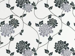 Обои в крупные цветы хризантемы черного и серебристого цвета ISODORE (White)